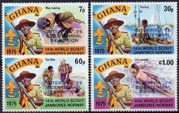 GHANA :1976: Y.557-60*** Postfris/neufs/MNH : SCOUTISME,14th JAMBOREE,NORWAY, INTERPHIL 76,PHILATELICS,PHILADELPHIA. - Esposizioni Filateliche