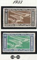 Italia Colonie Tripolitania 1933 Crociera Balbo    Sassone Serie N.29 - Tripolitania