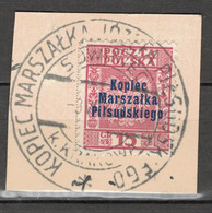 POLAND POLEN POLOGNE 1935 Mi  299 - OVERPRINT AUFDRUCK + POSTMARK KOPIEC MARSZALKA PILSUDSKIEGO - USED ON CUT - Usati