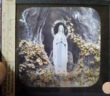 Lourdes - Plaque De Verre Couleurs - La Vierge Marie - Maison De La Bonne Presse TBE - Glass Slides