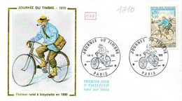France 1710 Fdc Facteur Rural à Bicyclette, Vélo, Pipe, Tabac - Giornata Del Francobollo