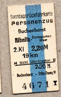 X06] BRD - Pappfahrkarte -- Buchenhorst - Ribnitz Damgarten West - ( Sonntagsrück) - Europa