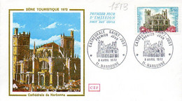 France 1713 Fdc Cathédrale De Narbonne - Chiese E Cattedrali