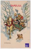 Stoopendaal - God Jul Noël 1916 CPA AK Suède Hiver Neigetraineau Luge Attelage Cheval Voiture Père Santa Claus A57-44 - Santa Claus