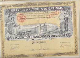 GRANDES MALTERIES DU GATINAIS- OBLIGATION  ILLUSTREE DE 500 FRS -ANNEE 1921 - Agricoltura