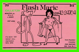CARTE QSL - FLASH MARIE, XM 42- 24704 - PINK PANTHER QSL CLUB No 2 - WEST HILL, ONTARIO - - Radio Amatoriale