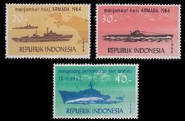 Indonesia 1964 MNH 3v No Gum, Navy Day, Ships - Barche
