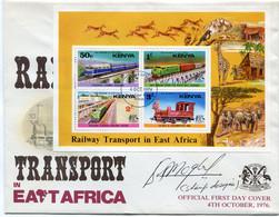 KENYA ENVELOPPE 1er JOUR DU BF 2 TRANSPORTS FERROVIAIRES EN EST-AFRICAIN AVEC OBLITERATION NAIROBI 1 OCT 1976 - Treni