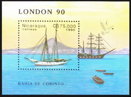 Nicaragua 1990 MNH MS, Int. Stamp Exhibition Stamp World London 90, Ships - Barche