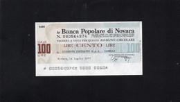 Italia - Miniassegno Banca Popolare Di Novara - Novara 1977 - Non Classificati