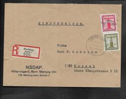DR R-Brief NSDAP Hitler-Jugend Bann Marburg - Militaria
