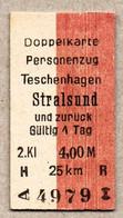 X06] BRD (Reichsbahn) - Pappfahrkarte -- Teschenhagen - Stralsund  - ( Doppelkarte) - Europa