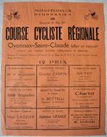 Ancienne Affiche Course Cycliste Du Moto Velo Club Oyonnaxien - 1927 Oyonnax Saint Claude 27 X 21 Cm - Manifesti