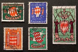 MCO0407-11U - Coat Of Arms - Set Of 5 Used Stamps - Monaco - 1954 - Gebruikt