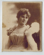 SILK PICTURE Foto Auf Seide Um 1870 ? Dame, Prinzessin ? Junges Mädchen In Kleid, Festrobe Kleid Pelzrobe ? - Oud (voor 1900)