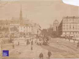 Boulevard Saint Michel Grande Photographie Paris C. 1890 Voiture Attelage Diligence Bus Tramway à Cheval Dentiste MF3 - Oud (voor 1900)