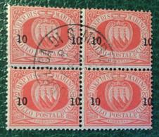 1892  - San Marino - 10 Cent Soprastampa Su Venti Centesimi - Stemma - Quartina -  Usati - Usati