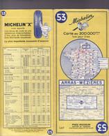CARTE MICHELIN N°53 ARRAS MEZIERES 1963 - Carte Stradali
