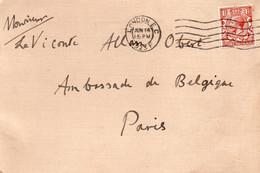 BELGIQUE - Courrier Adressé à Monsieur Le Vicomte Alain Obert De THieusis - Posté De Londres - Documenti Storici