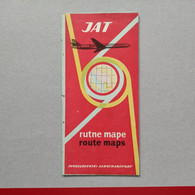 JAT - Airways Yugoslav Airlines, Route Maps Yugoslavia, Rutne Mape 1961, Jugoslovenski Aerotransport - Non Classés