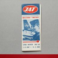 JAT - Airways Yugoslav Airlines, Time Table, Red Letenja 1967/1968, Jugoslovenski Aerotransport (34 Pages) - Zeitpläne