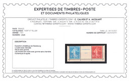 YV 242A N** (timbres) N* (intervalle) , Signé CALVES + Certificat , Cote 1000+ Euros - Unused Stamps