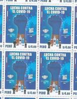 Peru 2021 Health & Medicine Covid 19 Coronavirus Block Of 4 - Disease