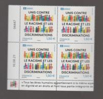FRANCE / 2021 / Y&T SERVICE N° 180 ** : UNESCO (Unis Contre Racisme & Discriminations) X 4 - Coin Daté 2021 08 16 - Dienstpost