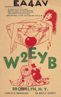 QSL W2EYB COCKTAIL, BROOKLYN USA. DATE: 10 ABR 1933. DESSIN FEMME EN TASSE, DRAWING WOMAN IN CUP. EROTIC EROTIQUE- LILHU - Non Classificati