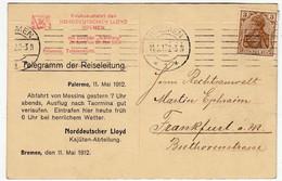 NORDDEUTSCHEN LLOYD - BREMEN - TELEGRAMM DER REISELEITUNG - PALERMO - 1912 - Vedi Retro - F.p. - Palermo