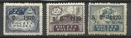Polen Poland 1920 Ostschlesien Michel 8 - 10 * - Slesia