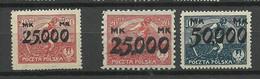 Polen Poland 1923 Michel 186 - 188 * - Nuovi