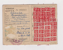 1948/50 Bulgaria Youth Communist Society Membership Card With Fiscal Revenue Stamps (63029) - Ohne Zuordnung
