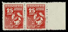 ANDORRE ANDORRA Espagnol 1949 Correo Urgente 25 Centimos Ecureuil En Paire Bord De Feuille ** Sans Charnière TTB/SUP - Ungebraucht