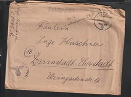 German Feldpost WW2: From Alencon In France - Feldkommandantur 916 FP 08599A Posted 27.7.1944 - Letter. Larger - Militaria