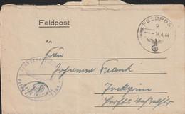 German Feldpost WW2: 3. Kompanie Luftwaffen-Bau-Bataillon 8/XII FP L25209 LGPA Breslau Posted 14.4.1944 - Militaria