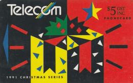 New Zealand, NZ-G-037, 1991 Christmas, Present, 2 Scans. - Natale