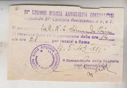 MILITARI 26° LEGIONE MILIZIA ARTIGLIERIA CONTROAEREI 1943 - COMANDO 31° CENTURIA  AVVISTAMENTO - Documenti Storici