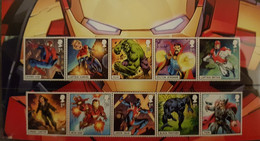 10 Timbres Différents Marvel Du Royaume-Uni. Neuf - Cinema