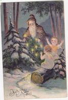 48953   Joyeux  Noel =  Angelots  Et  Père  Noel    Carte  Gaufrée - Santa Claus