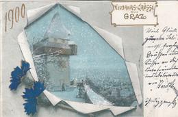 A585) NEUJAHRS Grüsse Aus GRAZ - 1900 !! Litho Verschneiter Urturm - Graz