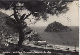 CARTOLINA  SPOTORNO,SAVONA,LIGURIA,ISOLETTA DI BERGEGGI E VILLAGIO DEL SOLE,VACANZA,BELLA ITALIA,VIAGGIATA 1955 - Savona