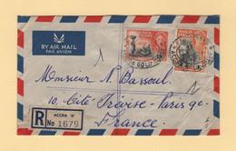 Gold Coast - Accra - 1951 - Recommande Par Avion Destination France - Gold Coast (...-1957)