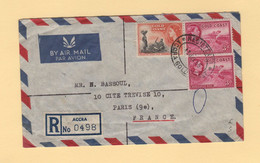 Gold Coast - Accra - 1956 - Recommande Par Avion Destination France - Gold Coast (...-1957)
