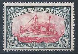 Königsjacht 32A, 5 Mark, Schwarzgrün/karmin  *          1906 - Colony: German South West Africa