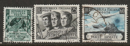 Italy 1952 Sc 613-5 Yt 637-9 Set Used - 1946-60: Usati