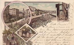 AK Souvenir De San Remo - Vecchio Stada - Corso Umberto Passegiata - Mehrbildkarte Litho - 1899  (58028) - San Remo