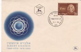 ALBERT EINSTEIN, 1879 - 1955. ISRAEL 1956 FDC JERUSALEM.- LILHU - Albert Einstein