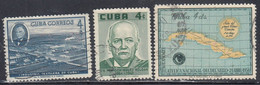 Cuba, Scott #590-591, 593, Used, Textile Factory, Roldan, Map, Issued 1958 - Used Stamps