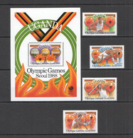 PM018 UGANDA OLYMPIC GAMES SEOUL 1988 #587-590 BL79 MICHEL MNH - Zomer 1988: Seoel